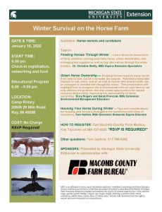Flyer about event  Winter survival on horse farm